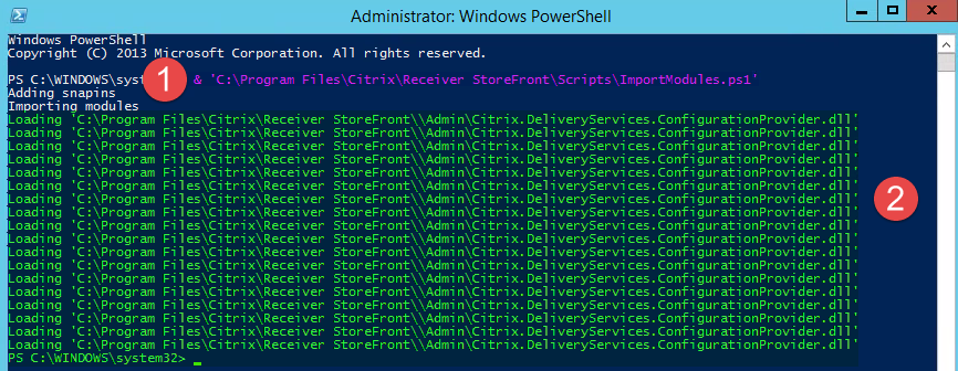 Screenshot zum Import von Modulen in der PowerShell