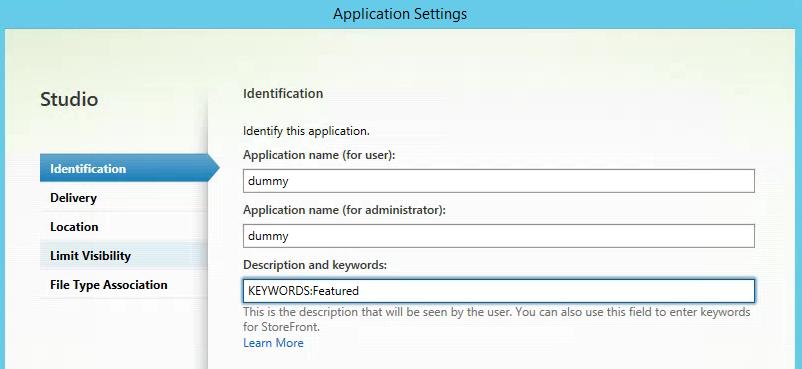 Citrix Studio Application Properties Settings
