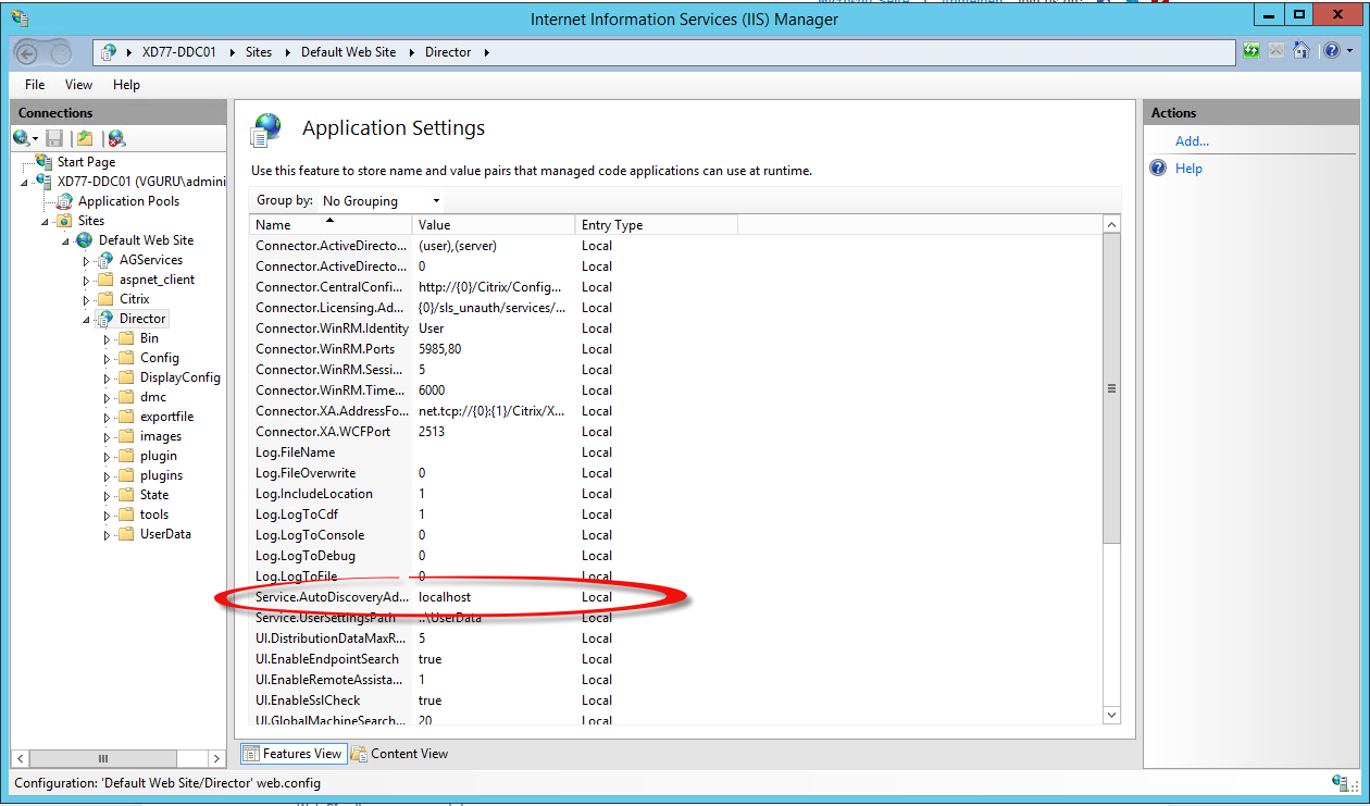 IIS Manager Application Settings