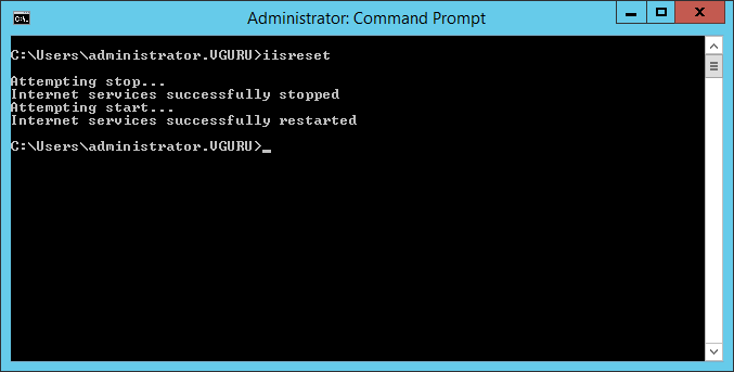 Command Prompt zum Neustarten des IIS