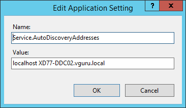 "Hinzufügen des neuen Application Settings ""Service.AutoDiscoveryAddresses"""