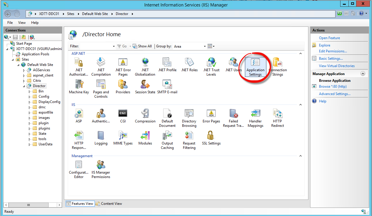 IIS Manager Feature View Application Settings zum Hinzufügen mehrere Sites im Citrix Director