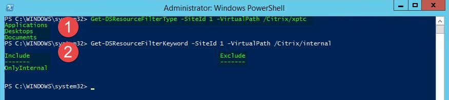 Citrix Storefront Get-DSResourceFilter Parameter im Einsatz