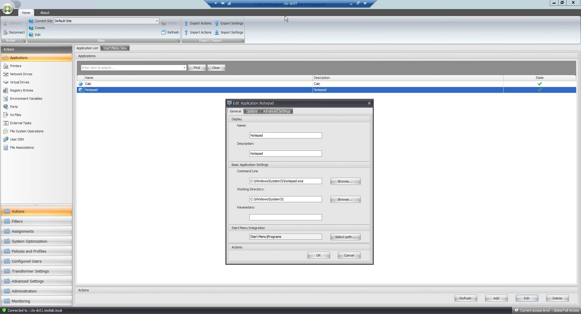 Citrix WEM - Verknüpfungen zur Anwendung erstellen