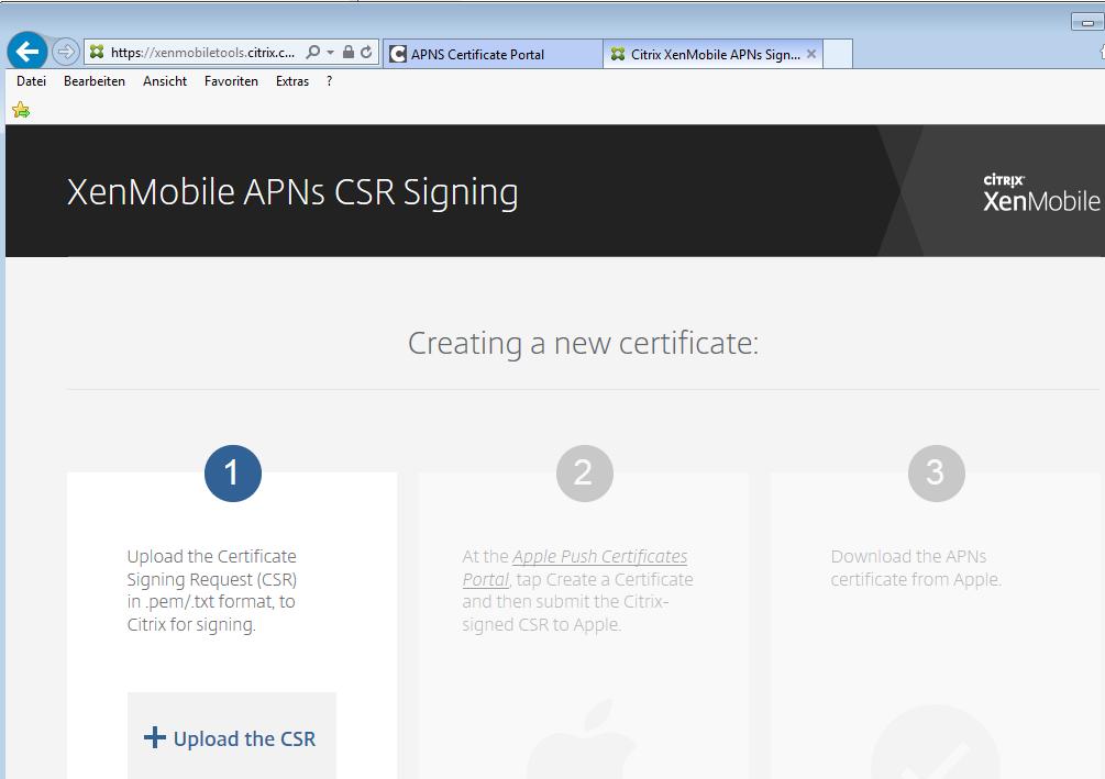 Citrix XenMobile Device Manager APNS Zertifkat verlängern