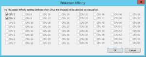CPU Process Affinity Auswahlmenü im Microsoft SysInternals Process Explorer