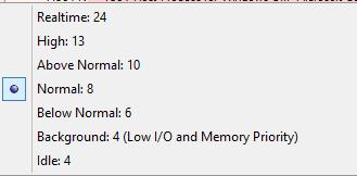 Auswahl der Prozesspriorität im CPU Process Affinity Auswahlmenü im Microsoft SysInternals Process Explorer