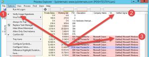 Anzeige der verify Images signatures im Microsoft SysInternals Process Explorer