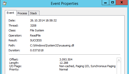 Microsoft SysInternals Process Monitor Event Properties