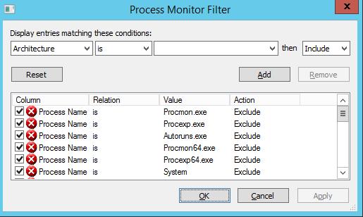 Microsoft SysInternals Process Monitor Process Filter