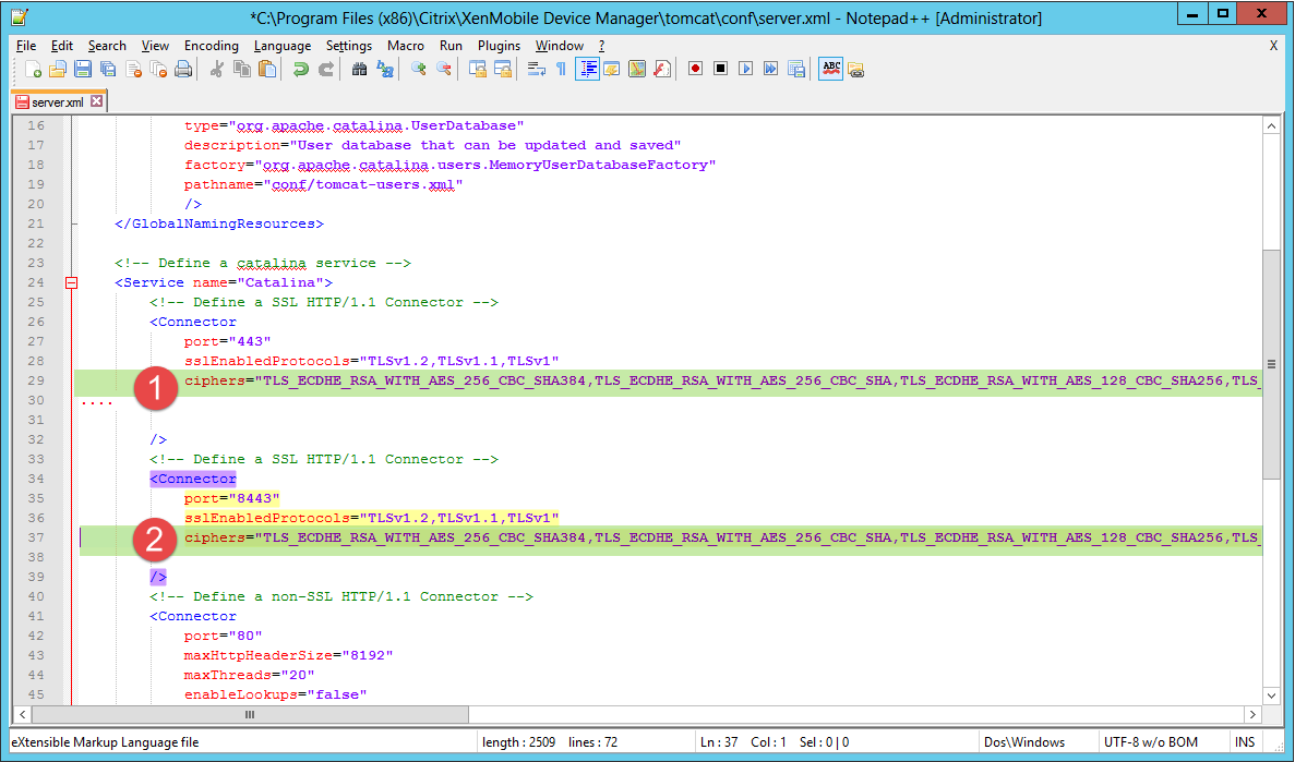 Konfigurieren von Cipher Suites auf dem Citrix XenMobile Device Manager