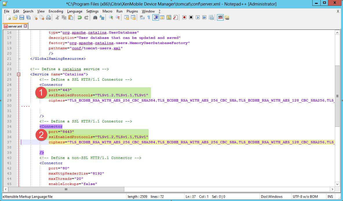 Tomcat Server.xml Anpassung auf Citrix XenMobile Device Manager