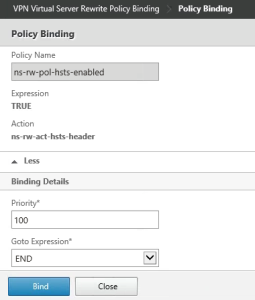 Citrix Netscaler Gateway SSL HSTS add policy binding