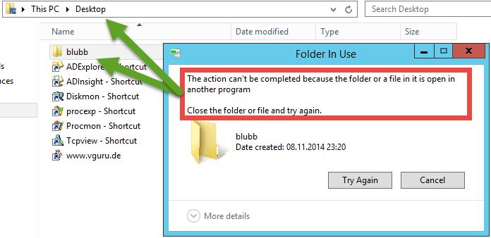 """Datei kann nicht gelöscht werden, da die Datei noch """"in Use"""" ist."""